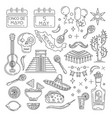 cinco de mayo line icons set vector image