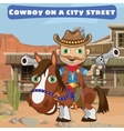 Cool cowboy with guns on a city street Wild West vector image vector image