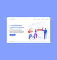 custom mobile app development landing web site vector image