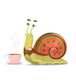 cute snail gentleman sitting with cup of tea or vector image