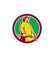 Fireman Firefighter Standing Axe Circle Retro vector image vector image