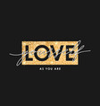 gold glitter texture and slogan - love yourself vector image vector image