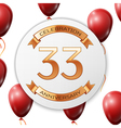 Golden number thirty three years anniversary vector image vector image