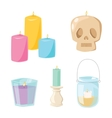 halloween skull candle with fire vector image vector image