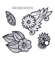 Hand drawn flowers Coloring page decoration vector image