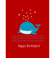 Happy birthday card with cute whale vector image vector image