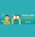 hipster selfie banner horizontal concept vector image vector image