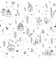 houses in winter forest seamless pattern with vector image vector image