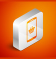 isometric shopping basket on screen smartphone vector image