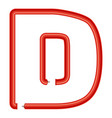 letter d plastic tube icon cartoon style vector image vector image