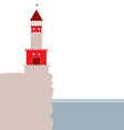 lighthouse rocky island ocean Red and beige vector image vector image