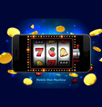 lucky slot machine casino on mobile phone with vector image