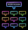 neon rectangle arrow pointer set color gradient vector image vector image