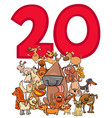 number twenty and cartoon dogs group vector image vector image