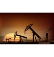 Oil production from the towers at sunset vector image