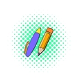 Pencil and pen icon comics style vector image vector image