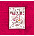 Red background with valentine heart cookies vector image vector image