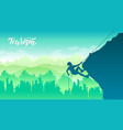 rock climber resting while climbing overhanging vector image
