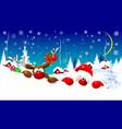 santa and deer on christmas night vector image vector image