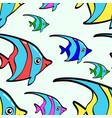seamless background ocean fish colored vector image vector image