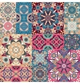 Seamless floral patchwork pattern vector image