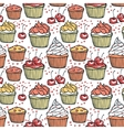 Seamless pattern with muffins and cherries vector image