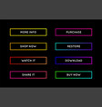 set modern neon app or game buttons trendy vector image