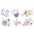 set of birthday party decorative design vector image