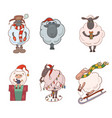 set of christmas cartoon lambs for your creativity vector image vector image