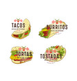 set of label and logo design for mexican food vector image vector image