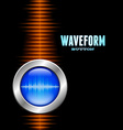 Silver button with sound waveform and orange wave vector image