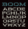 Stencil plate font in racing style vector image vector image