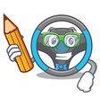 student steering wheel in the character shape vector image vector image