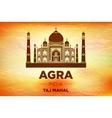 sunrise agra Taj Mahal india orange vector image vector image
