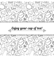 Tea and sweets black and white background vector image vector image