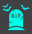 tombstone glyph icon halloween and scary grave vector image vector image