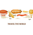 travel banner with retro air transport vintage vector image vector image