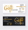 voucher template with gold gift boxcertificate vector image vector image