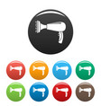 warm hair dryer icons set color vector image vector image
