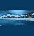 winter landscape of small village houses on banks vector image
