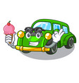 with ice cream miniature classic car in shape vector image