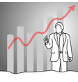 businessman showing thumb up with graph arrow up vector image