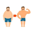 Fat and slim man with mustache vector image
