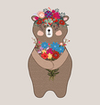 Adorable bear in floral technique Beautiful card vector image vector image