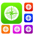 ancient compass set color collection vector image vector image
