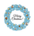 blue merry christmas wreath vector image vector image