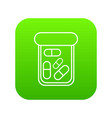 bottle drug icon green vector image vector image