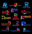 business identity symbols with letter r vector image vector image