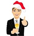 businessman toasting with a glass of champagne vector image vector image