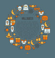 cartoon halloween concept in circle vector image
